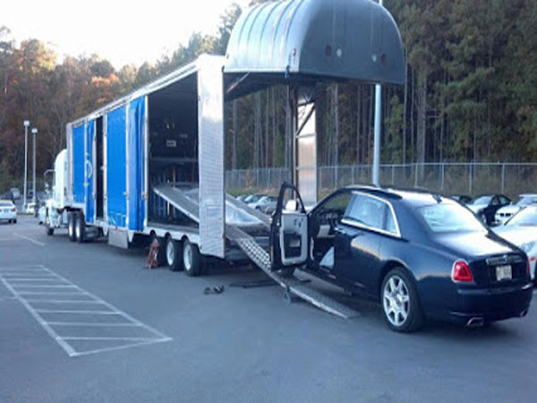 Car being loaded for transport
